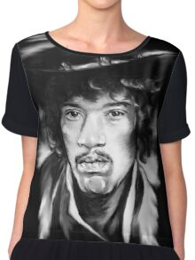 Jimmy in Black and White Chiffon Top