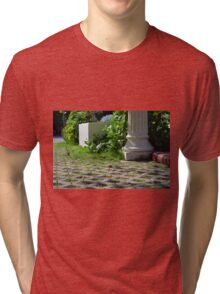 Detail of decoration in the park with column and vegetation. Tri-blend T-Shirt
