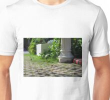 Detail of decoration in the park with column and vegetation. Unisex T-Shirt