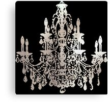 Crystal Chandelier, Faux Silver Canvas Print