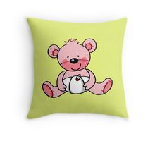 baby pink teddy bear Throw Pillow