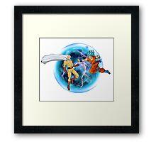 Saitama Vs. Goku Combat Framed Print