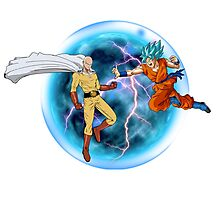 Saitama Vs. Goku Combat Photographic Print