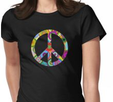 Peace Sign Cool Retro Flowers Design Womens Fitted T-Shirt