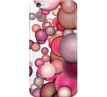 3d render strings of floating balls in multiple glossy pink red  iPhone Case/Skin