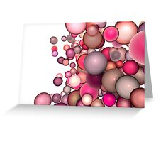3d render strings of floating balls in multiple glossy pink red  Greeting Card