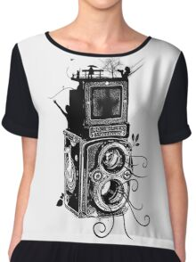 Retro Rolleiflex - Evolution of Photography - Vintage Chiffon Top