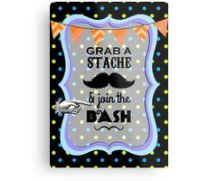 Little Man Hipster Mustache Birthday Party Metal Print