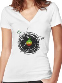 Reggae Music Peace - Vinyl Records Weed Cannabis - Cool Retro Music DJ inspired design Women's Fitted V-Neck T-Shirt