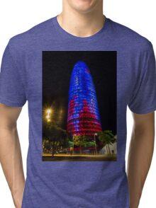 Nocturnal Illumination - Torre Agbar Barcelona Soft Golden Glow Tri-blend T-Shirt