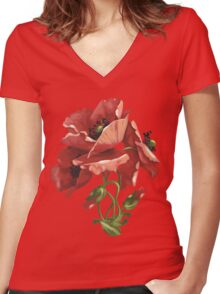Poppy flowers - acrylic painting Women's Fitted V-Neck T-Shirt