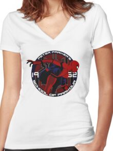 Spider Man - Peter Parker's School of Parkour Women's Fitted V-Neck T-Shirt