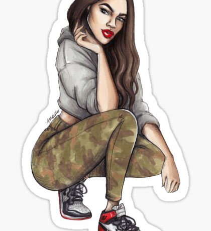 Camo Girl Sticker