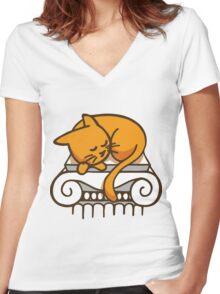 Greek Cat Women's Fitted V-Neck T-Shirt