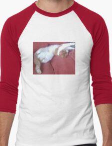 Rippley Ginger Spice & Soft White Male Cat called Zimbabar Men's Baseball ¾ T-Shirt