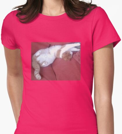 Rippley Ginger Spice & Soft White Male Cat called Zimbabar Womens Fitted T-Shirt