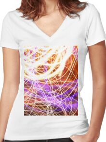 Psychedelic Neon Light Party Women's Fitted V-Neck T-Shirt