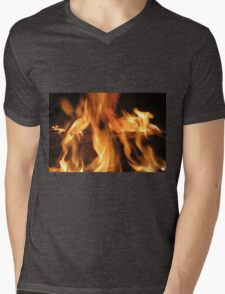 fireplace Mens V-Neck T-Shirt