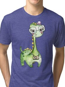 Green Dinosaur Watercolor Art Illustration Tri-blend T-Shirt