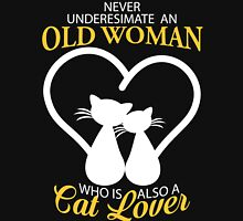 Old Woman Also Cat Lover Womens Fitted T-Shirt