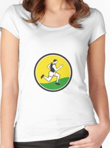 Marathon Runner Circle Retro Women's Fitted Scoop T-Shirt