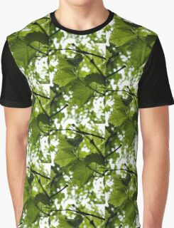 Green Summer Rain with Grape Leaves - Vertical Graphic T-Shirt