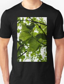 Green Summer Rain with Grape Leaves - Vertical Unisex T-Shirt
