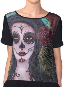 Day of the dead art by Renee Lavoie Chiffon Top