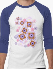 Mixture of Roses and Other Flowers Men's Baseball ¾ T-Shirt