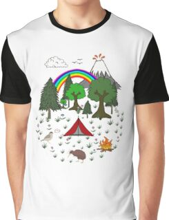 New Zealand Camping Scene with Kiwi Graphic T-Shirt