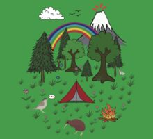New Zealand Camping Scene with Kiwi Kids Tee