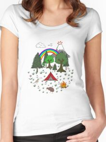 New Zealand Camping Scene with Kiwi Women's Fitted Scoop T-Shirt