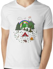 New Zealand Camping Scene with Kiwi Mens V-Neck T-Shirt