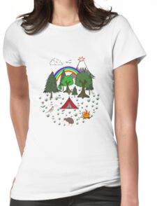 New Zealand Camping Scene with Kiwi Womens Fitted T-Shirt