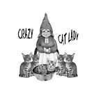 Crazy Cat Lady, Gnome Woman with Bengal Cats, Art by Joyce Geleynse