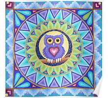 Little Purple Owl Mandala Poster