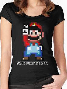 Super Mario 16 bit Victory Pose Women's Fitted Scoop T-Shirt