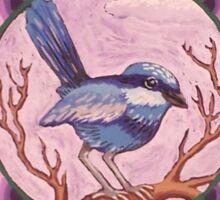 Little Blue Fairy Wren Mandala Sticker