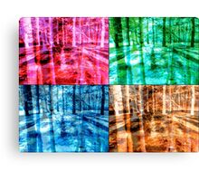 Colorful Forest Trees Four Color Patch Organic Design Canvas Print