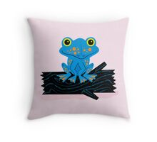 Frog On a Log Throw Pillow
