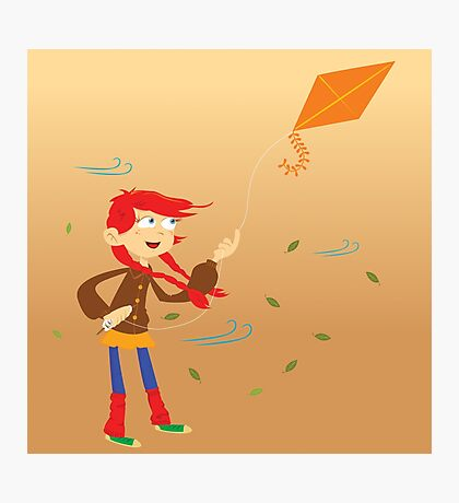 little girl with kite Photographic Print