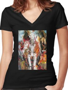 Ghost of a Robot Women's Fitted V-Neck T-Shirt