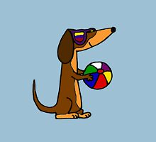 Cool Funky Dachshund Dog with Beach Ball Unisex T-Shirt