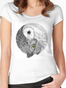 Owl Yin Yang Women's Fitted Scoop T-Shirt