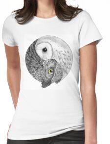 Owl Yin Yang Womens Fitted T-Shirt