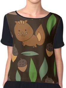 Cute woodland animal chipmunk pattern Chiffon Top