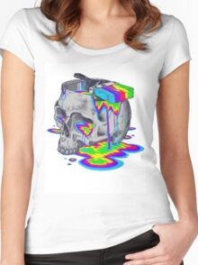 Rainbow Painted Skull Women's Fitted Scoop T-Shirt