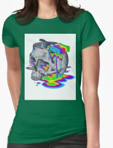 Rainbow Painted Skull Womens Fitted T-Shirt