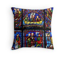 Chartres Stained Glass Window - Life of Saint Apollonaire Throw Pillow