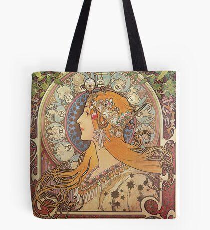 Alphonse Mucha Art Nouveau - La Plume Tote Bag